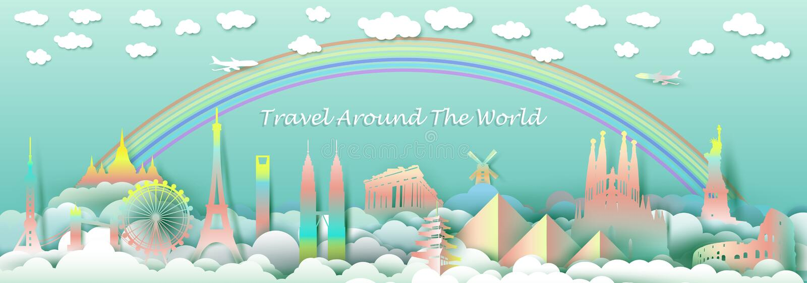 Travel with landmarks top of the world famous monuments countries. royalty free illustration