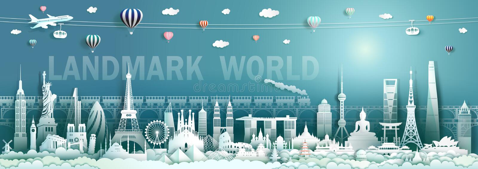 Travel landmarks world with modern and ancient architecture background vector illustration