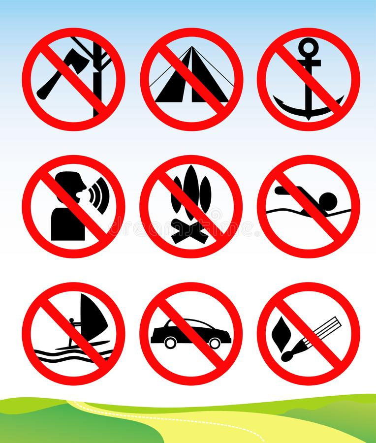 Travel and leisure prohibition signs.