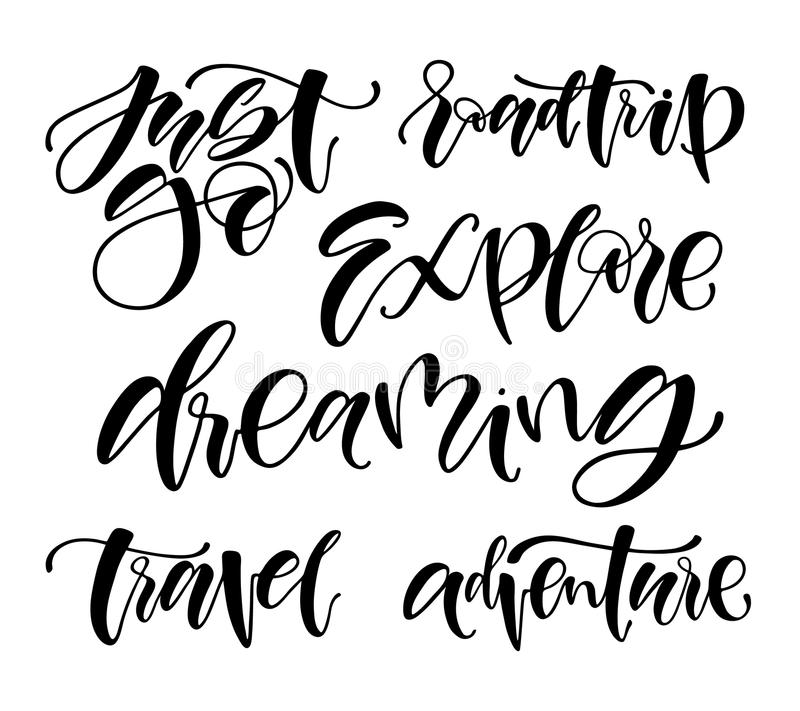 Travel life style inspiration quotes lettering. Motivational quote typography. Calligraphy graphic design element. Just go. Roadtr. Ip. Explore stock illustration