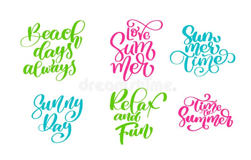 Travel lifestyle motivational phrases set. Hand drawn summer vector calligraphy lettering text. Vacation quotes, phrases and words. For greeting card template stock illustration