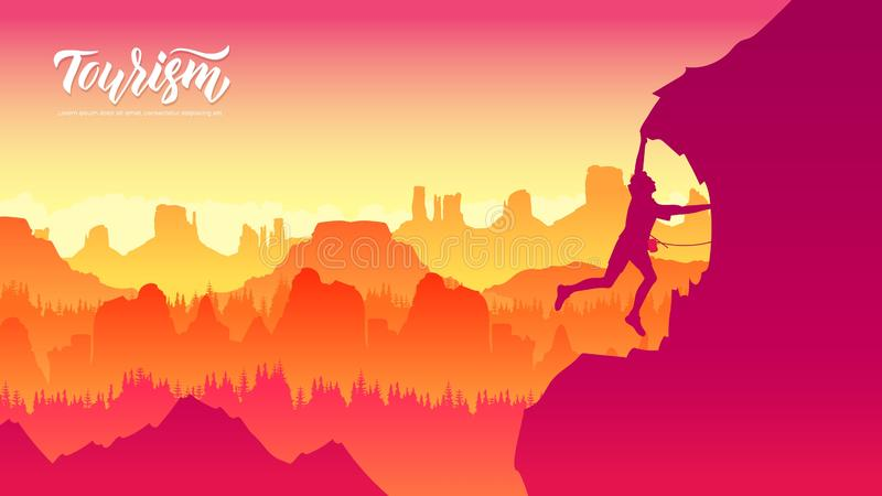 Travel Lifestyle wanderlust. Adventure concept summer vacations outdoor alone into the wild. People helping each other hike up a mountain at sunrise vector illustration