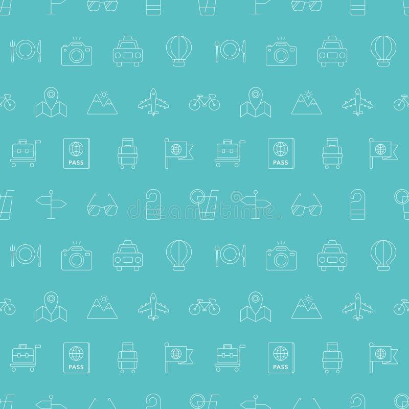 Travel line icon pattern set vector illustration