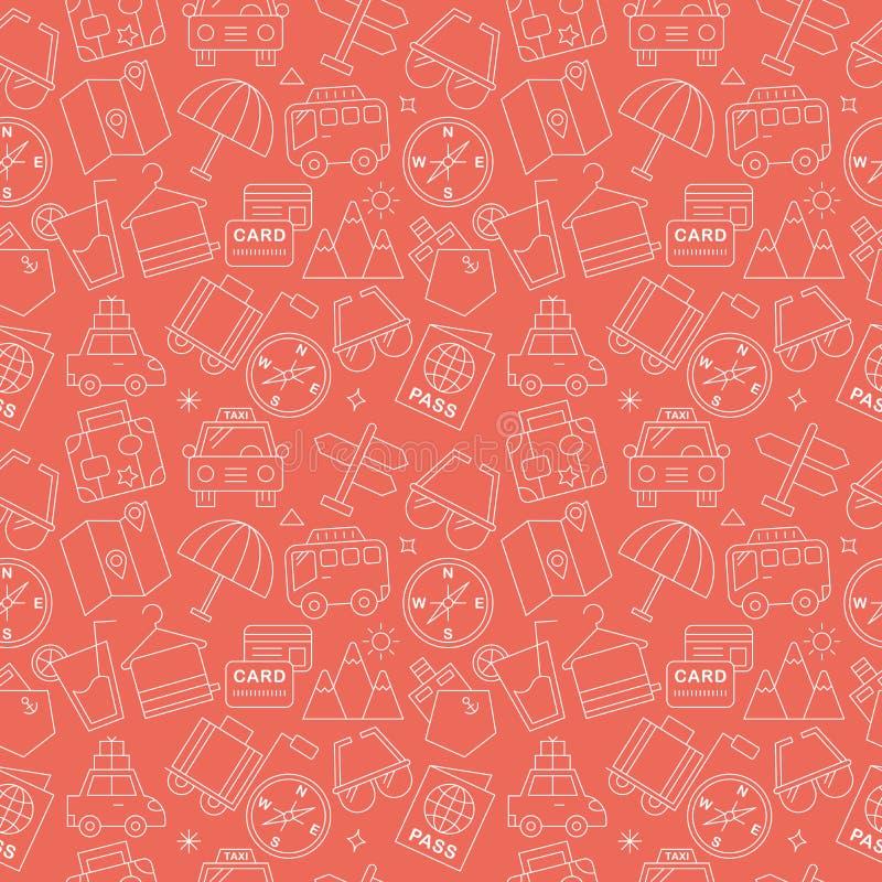 Travel line icon pattern set royalty free illustration
