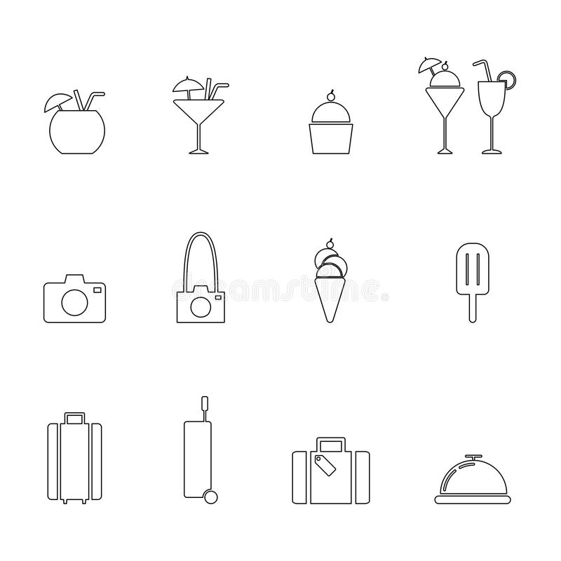 Travel line icon set. Summer, travel, party, and cuisine line icons set eps10 vector illustration