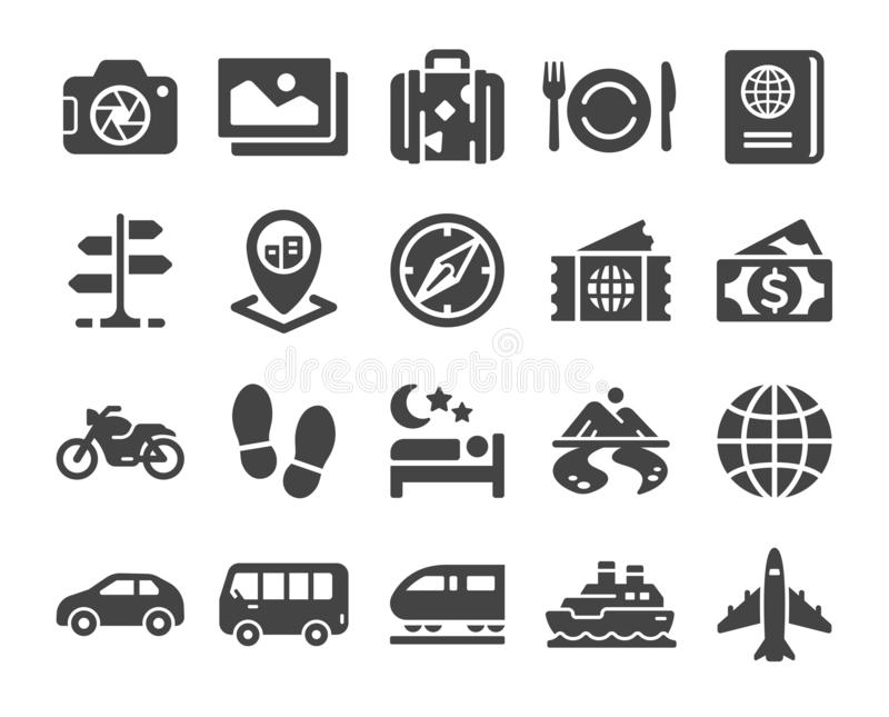 Travel line icon set. Travel thin line icon set vector and illustration stock illustration