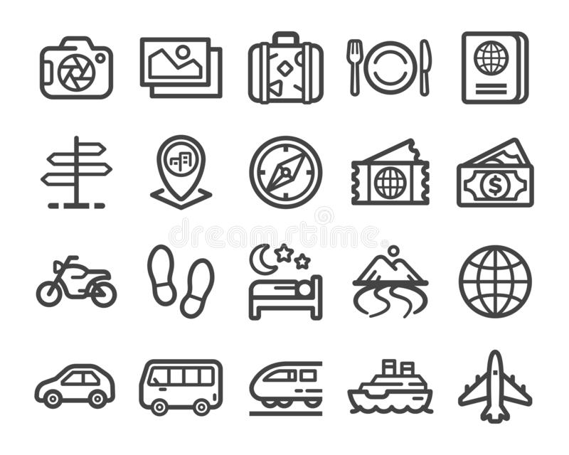Travel line icon set. Travel thin line icon set vector and illustration vector illustration