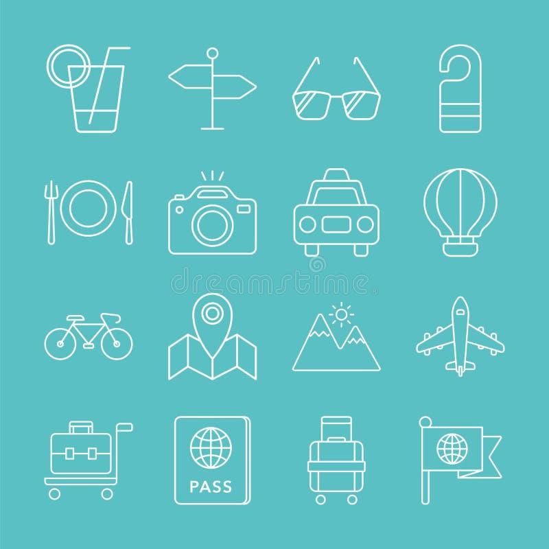 Travel line icon set royalty free illustration