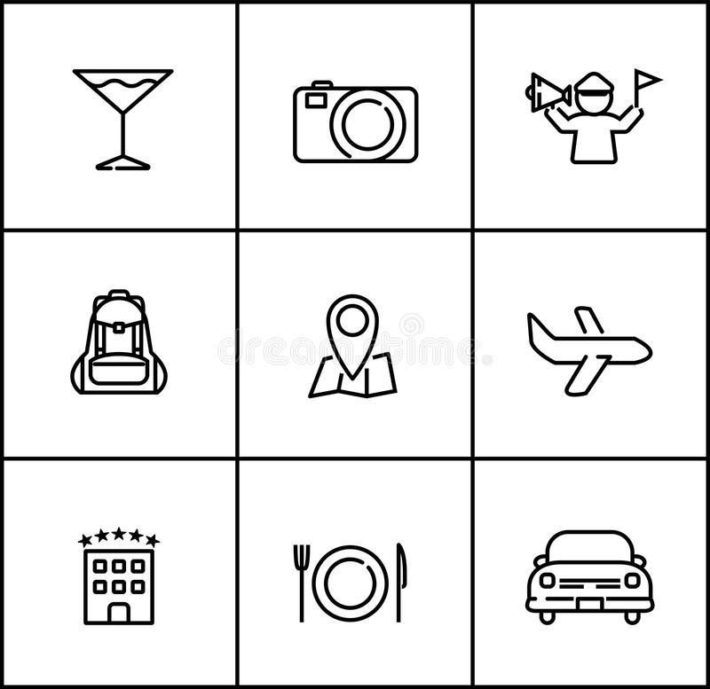 Travel line icons flat style on white background. Travel itinerary line icons flat style on white background stock illustration