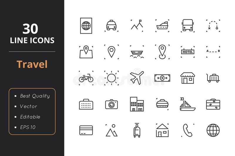 30 Travel Line Icons vector illustration