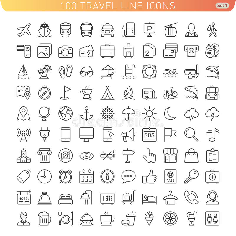 Travel Line Icons. Icon Set for Web and Mobile. Light version