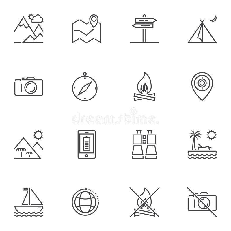 Travel line icons set vector illustration
