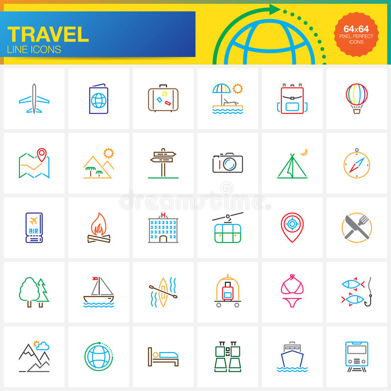 Travel line icons set, outline vector symbol collection, linear pictogram stock illustration