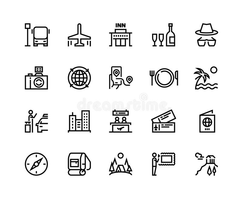 Travel line icons. Vacation plane tourism summer airplane luggage forest adventure, museum restaurants and shopping tour vector illustration