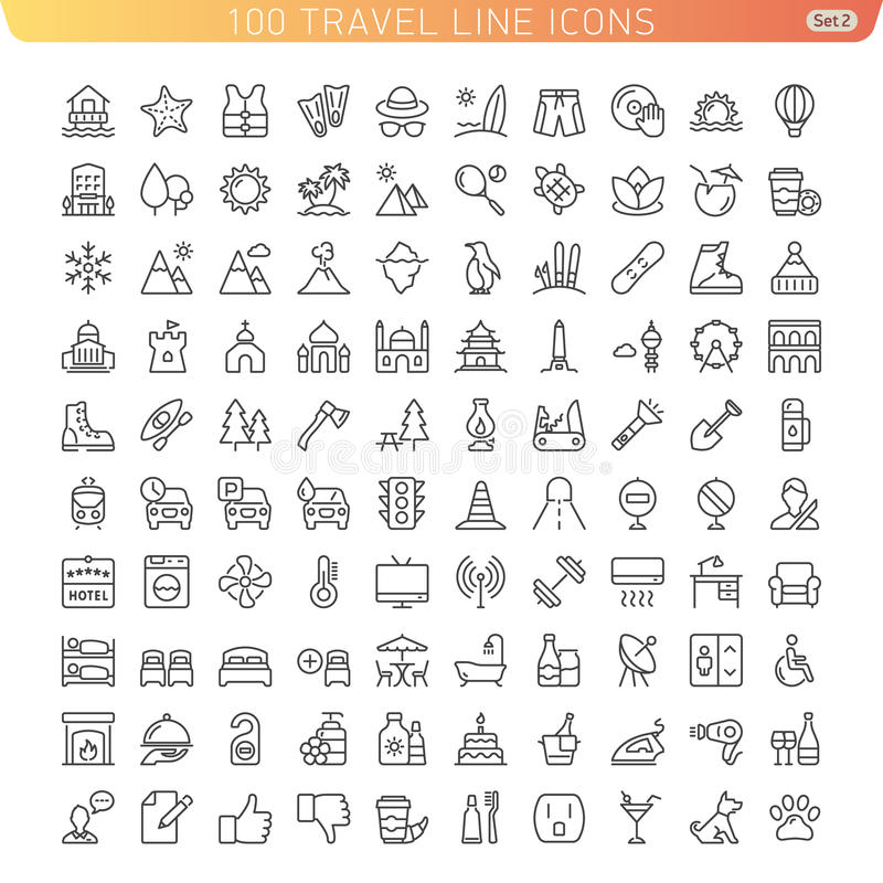 Travel Line Icons for Web and Mobile. stock illustration