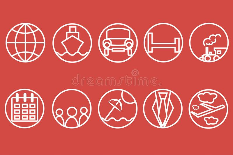 Travel line icons. White outline of a train, ship, cars, air, trains, umbrellas on a red background stock illustration
