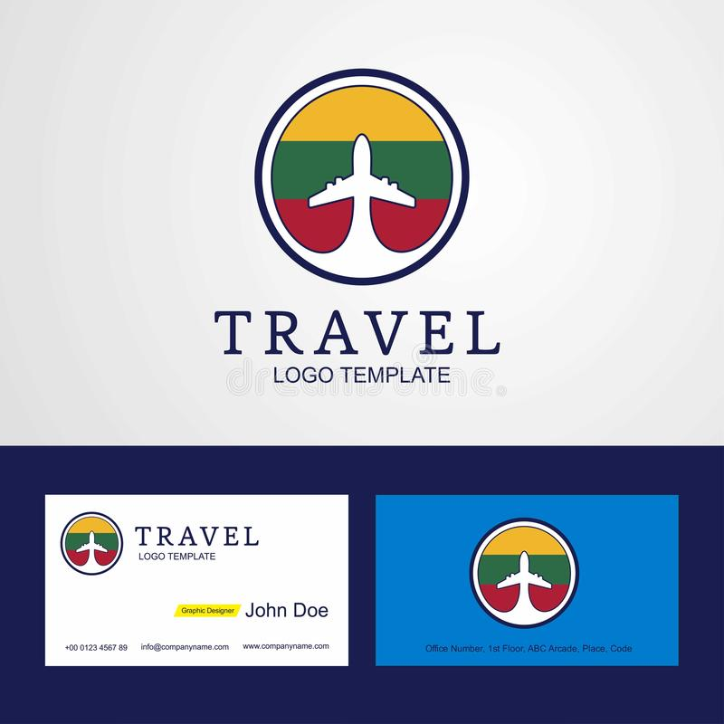 Travel Lithuania Creative Circle flag Logo and Business card design royalty free illustration