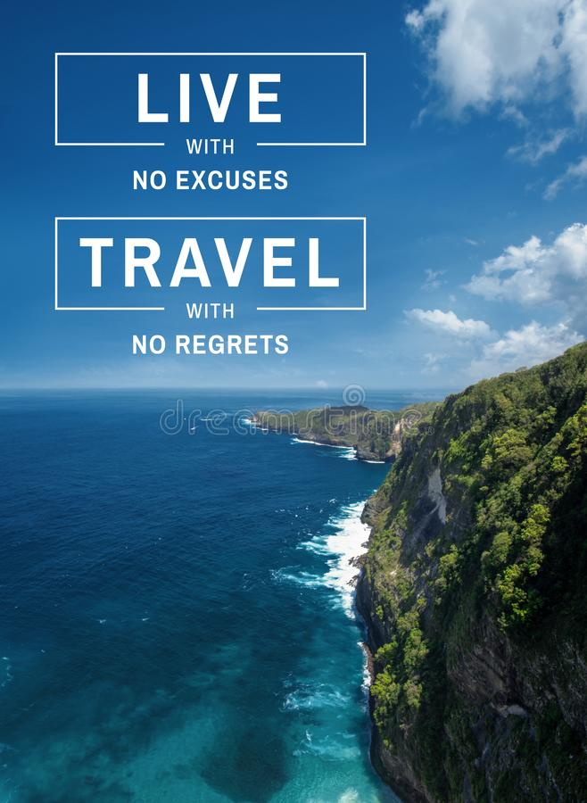 Travel and living quote. Travel inspirational and motivational quote. Landscape background and travel wisdom saying stock image