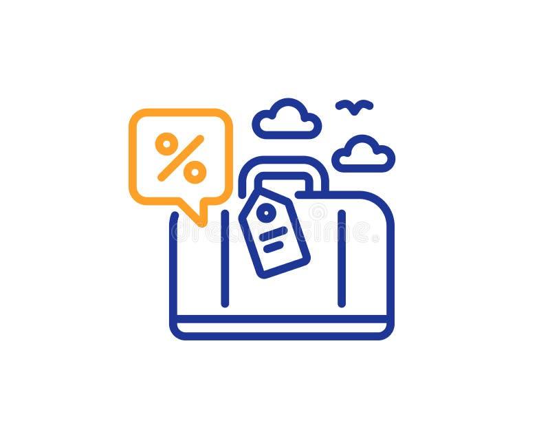 Travel loan percent line icon. Trip discount sign. Vector. Travel loan percent line icon. Trip discount sign. Credit percentage symbol. Colorful outline concept vector illustration
