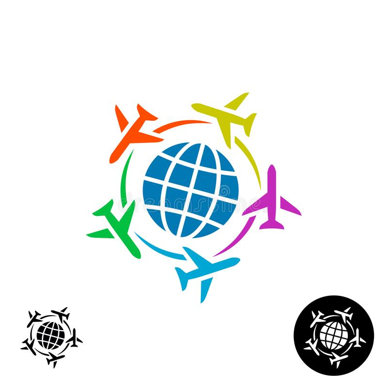 Travel logo concept. Planet earth globe symbol with color planes. royalty free illustration