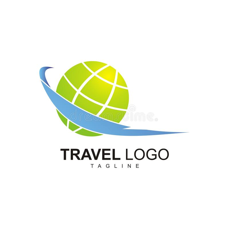 The Travel Logo with green globe design. Travel logo green globe design traveling transport people tourist view royalty free illustration