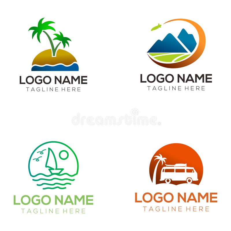Travel logo and icon design. Suitable for your business, company and personal branding stock illustration