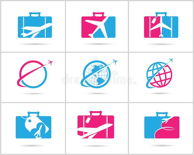 Travel logos set design. Ticket agency and tourism vector icons, airplane in bag and globe. Luggage bag logo, world tour. stock illustration