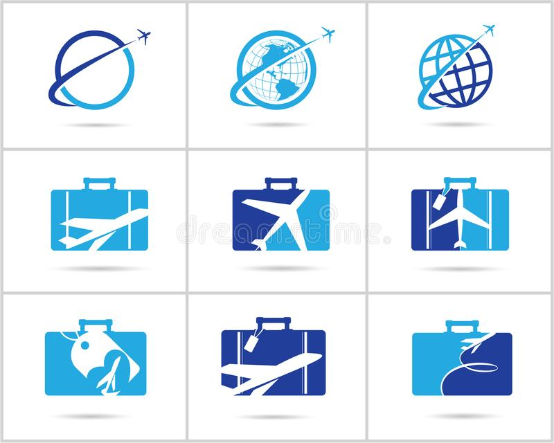 Travel logos set design. Ticket agency and tourism vector icons, airplane in bag and globe. Luggage bag logo, world tour. royalty free illustration