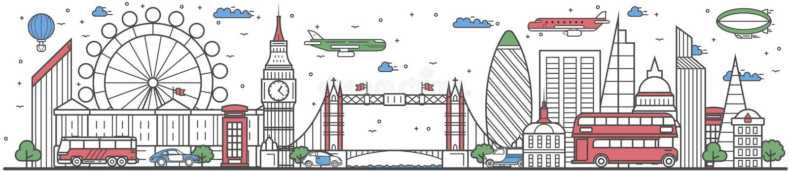Travel in London city line flat design banner royalty free illustration