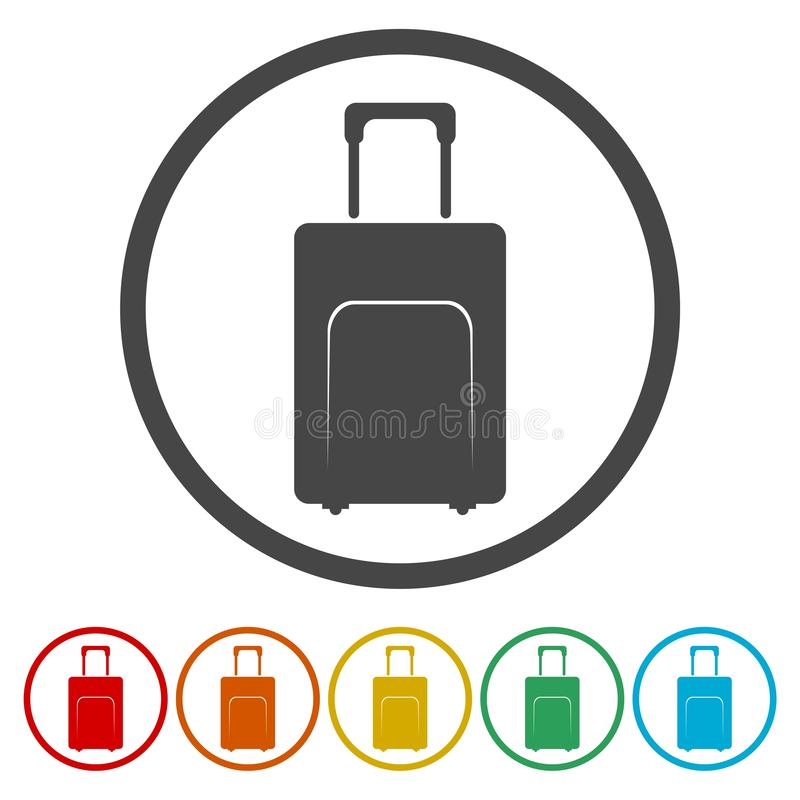 Travel luggage bag icon. Circle flat button stock illustration