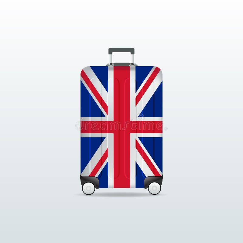 Travel luggage bag with United Kingdom flag. Realistic suitcase. royalty free illustration