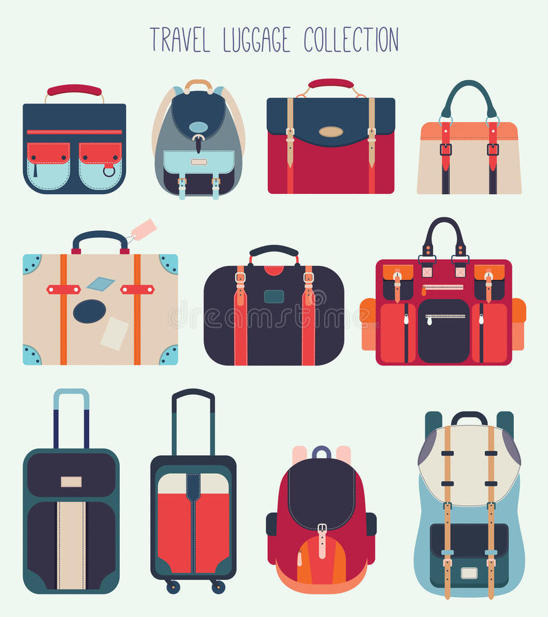 Travel luggage collection (flat design). A collection of eleven travel luggage royalty free illustration