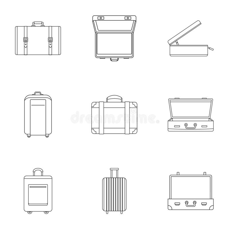 Travel luggage icon set, outline style vector illustration