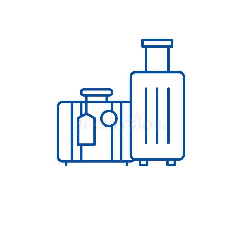 Travel luggage line icon concept. Travel luggage flat  vector symbol, sign, outline illustration. vector illustration