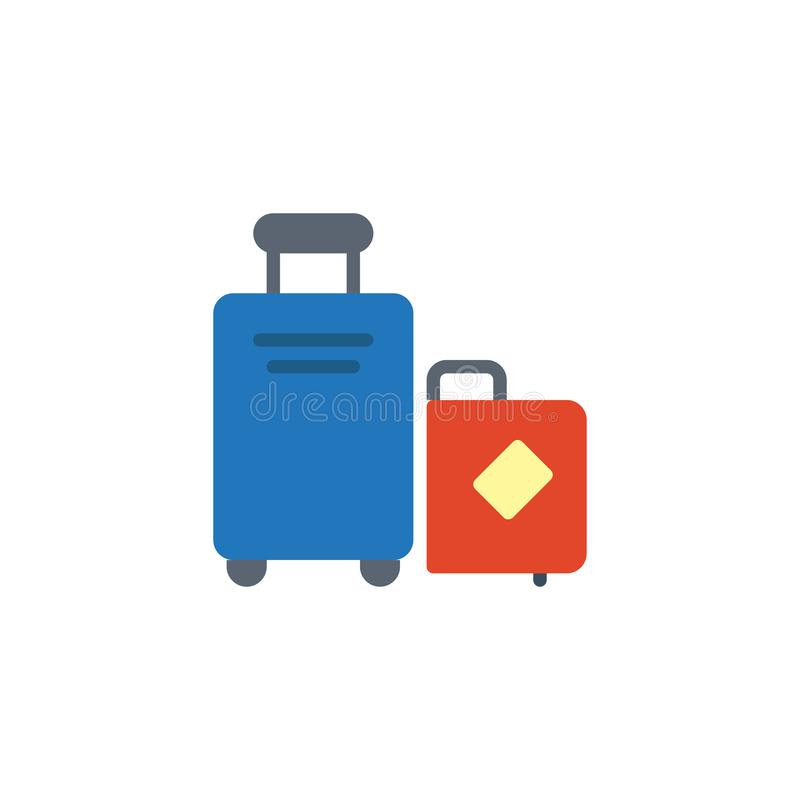 Travel luggage with sticker flat icon vector illustration