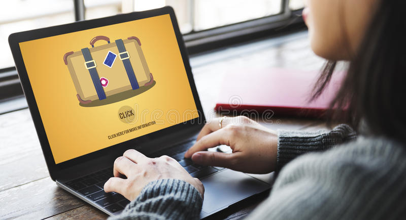 Travel Luggage Suitcase Journey Click Concept stock images