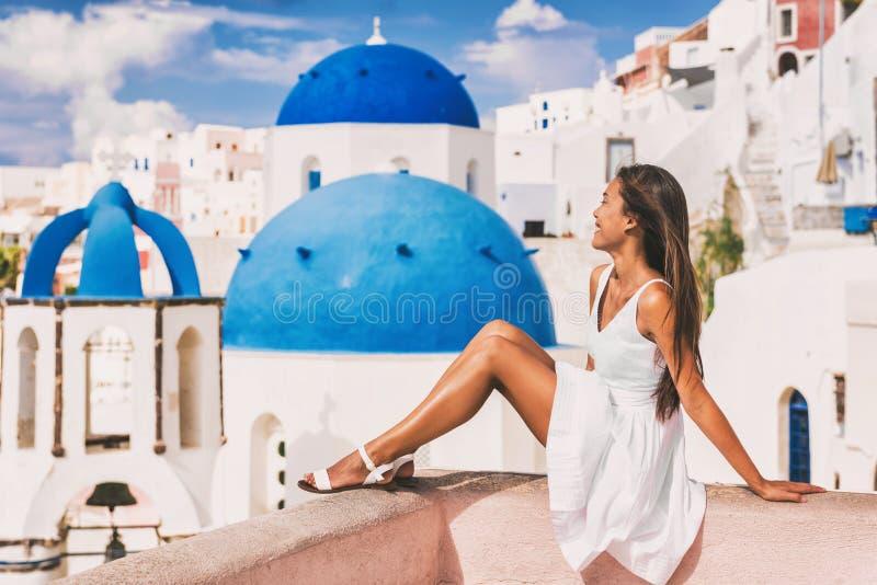 Travel luxury Europe Santorini vacation woman royalty free stock photos