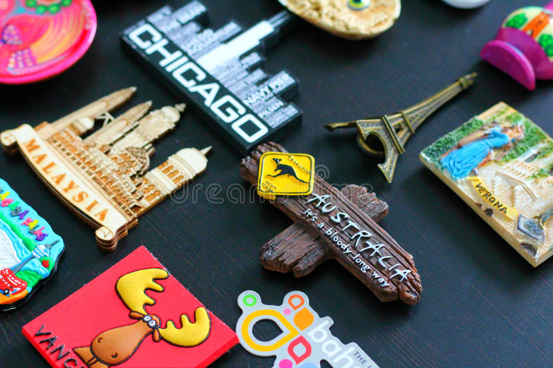 Travel Magnets from all over the World. Variety of souvenir magnets from all over the world royalty free stock photography