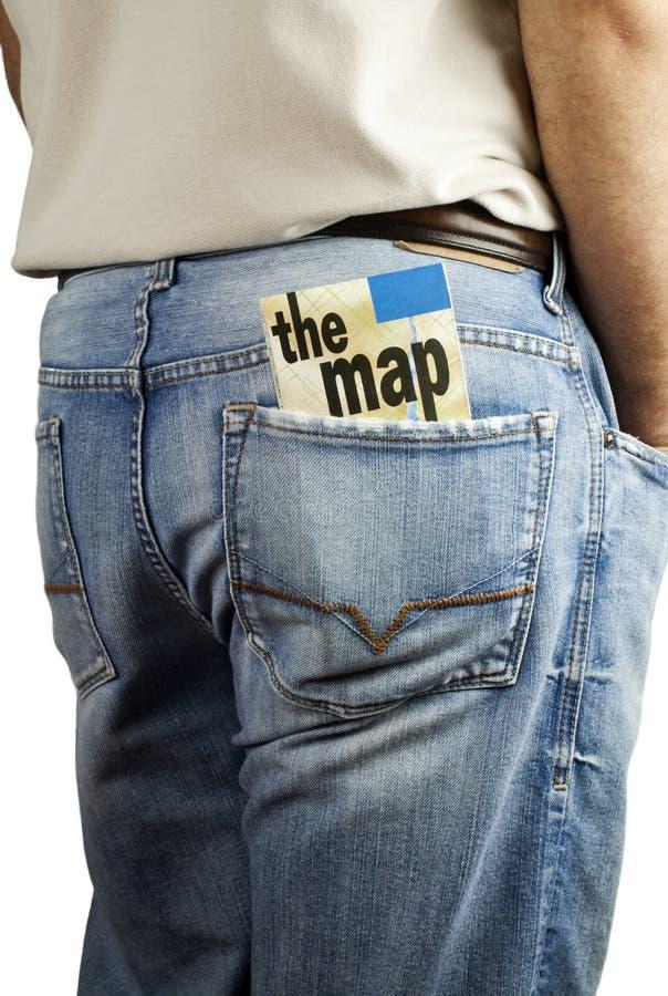 Travel Map In Back Pocket Stock Image