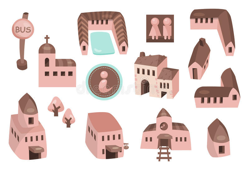 Travel map icons 01. Design elements for tourist site and map with related words royalty free illustration
