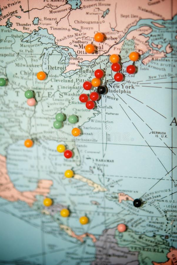 Free Travel Map With Push Pins Stock Photography - 13692432