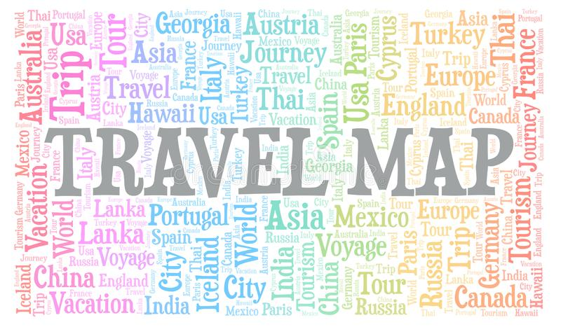 Travel Map word cloud. Wordcloud made with text only stock illustration