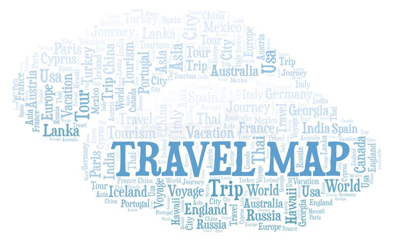 Travel Map word cloud. Wordcloud made with text only royalty free illustration