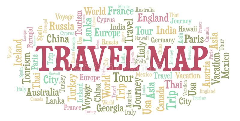 Travel Map word cloud. Wordcloud made with text only vector illustration