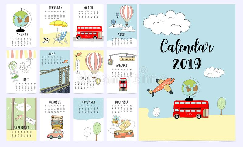 Travel monthly calendar 2019 with van,sun,suitcase,sea,beach,watermelon,ice cream,rainbow glasses,cactus and flamingo vector illustration