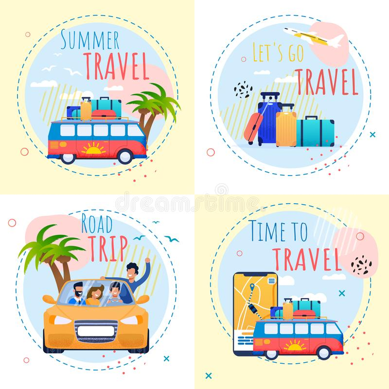 Travel Motivational Set with Inspiration Quotes. Summer Vacation Motivational Set with Inspiration Quotes. Time to Travel and Relax Illustration. Road Trip by stock illustration