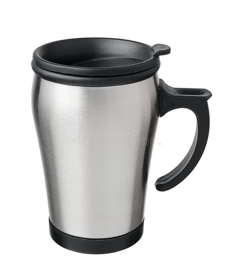 Travel mug. Isolated on white background stock photo