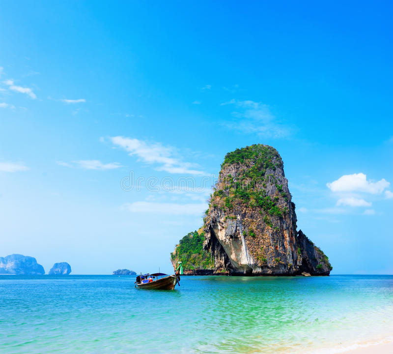 Beautiful Sunny Day At Tropical Beach Royalty Free Stock: Thailand Tropical Island And Sandy Beach At Sunny Day In