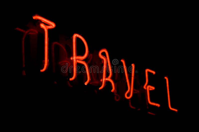 Travel neon sign royalty free stock photo