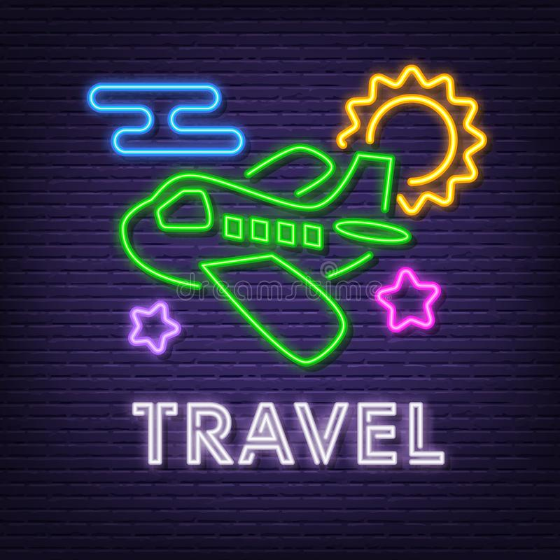 Travel neon signboard. Vector neon glow on dark background royalty free illustration